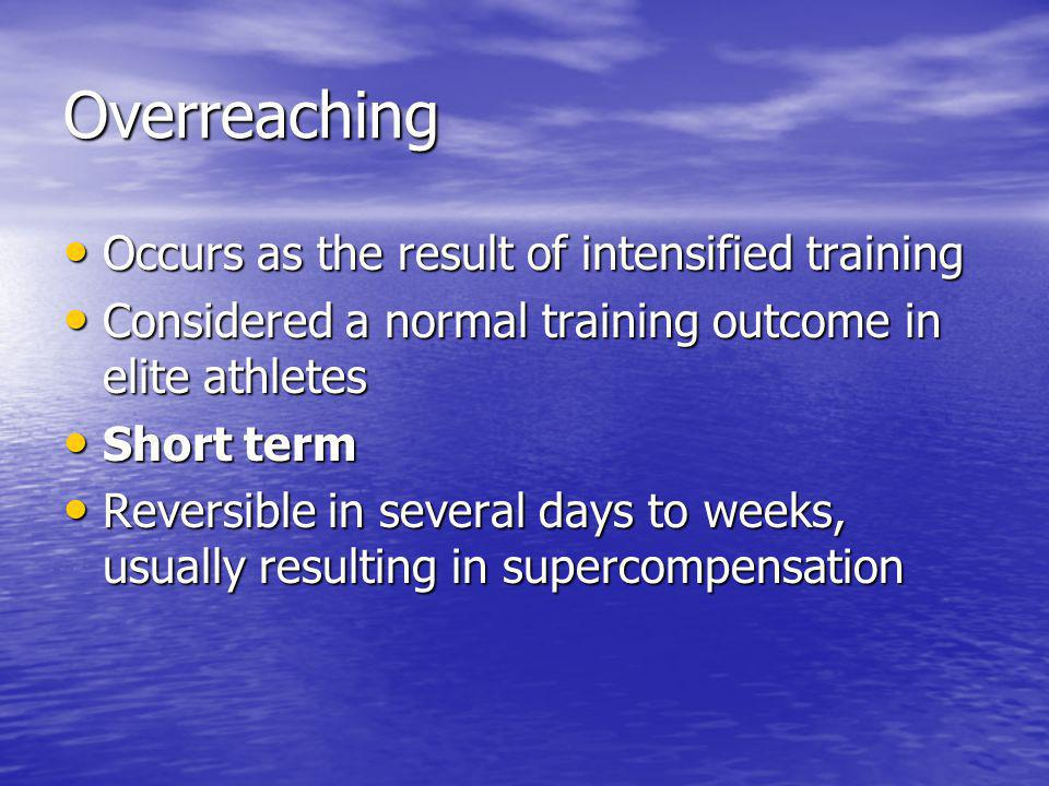 Overreaching Occurs as the result of intensified training