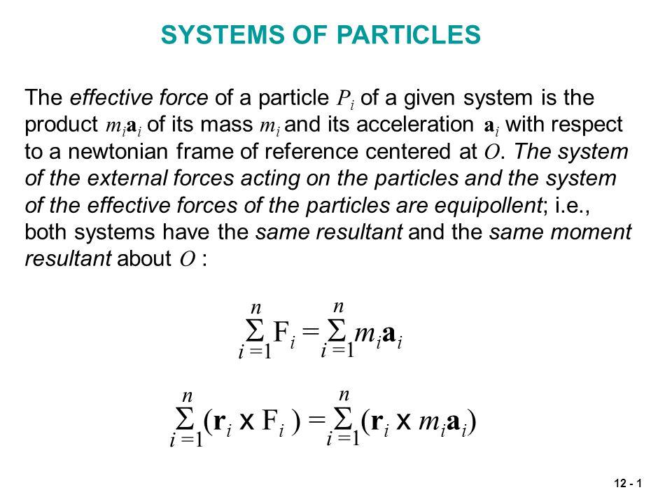 S Fi = S miai S (ri x Fi ) = S (ri x miai) SYSTEMS OF PARTICLES