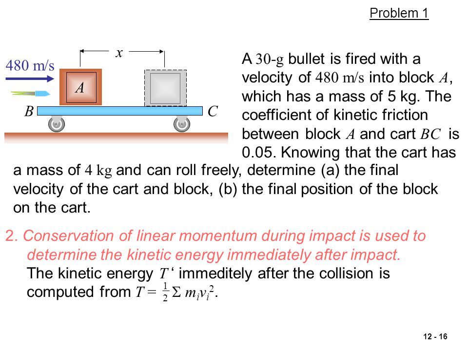 2. Conservation of linear momentum during impact is used to