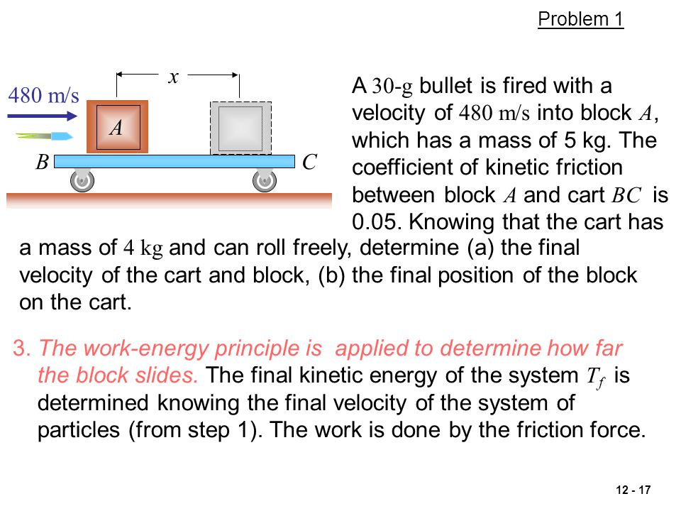 3. The work-energy principle is applied to determine how far