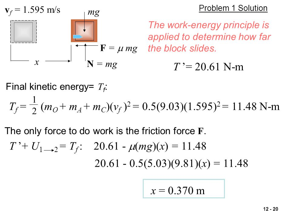 Tf = (mO + mA + mC)(vf )2 = 0.5(9.03)(1.595)2 = 11.48 N-m