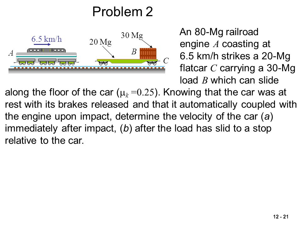Problem 2 An 80-Mg railroad engine A coasting at