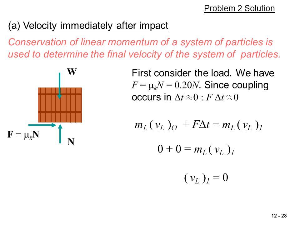 mL ( vL )O + FDt = mL ( vL )1 0 + 0 = mL ( vL )1 ( vL )1 = 0