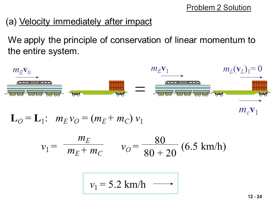mcv1 LO = L1: mE vO = (mE + mC) v1 mE 80 mE + mC v1 = vO = (6.5 km/h)