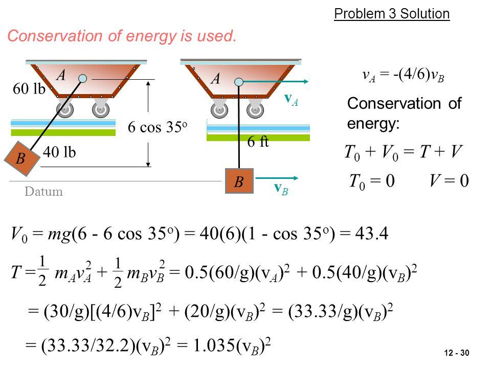 V0 = mg(6 - 6 cos 35o) = 40(6)(1 - cos 35o) = 43.4