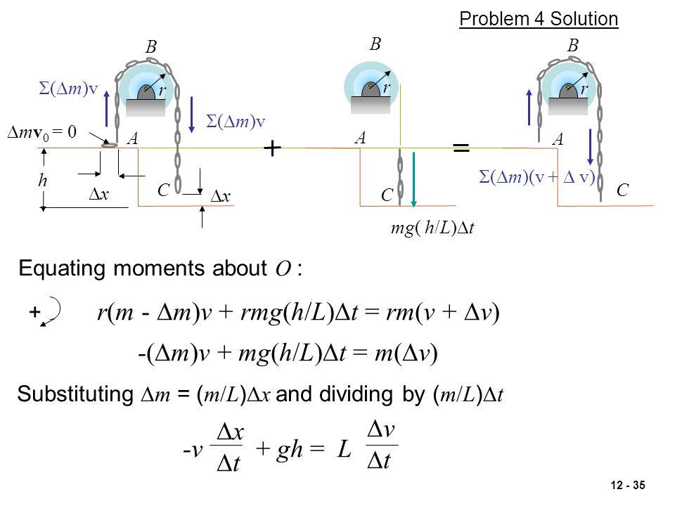 r(m - Dm)v + rmg(h/L)Dt = rm(v + Dv)