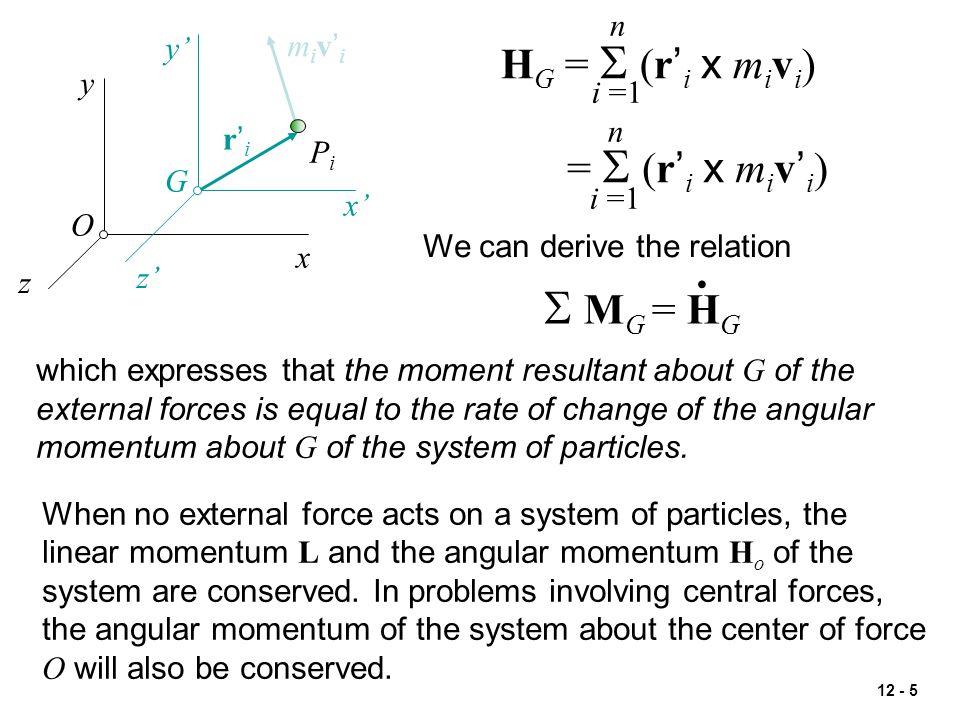 . S MG = HG HG = S (r'i x mivi) = S (r'i x miv'i) n y' miv'i y i =1 n
