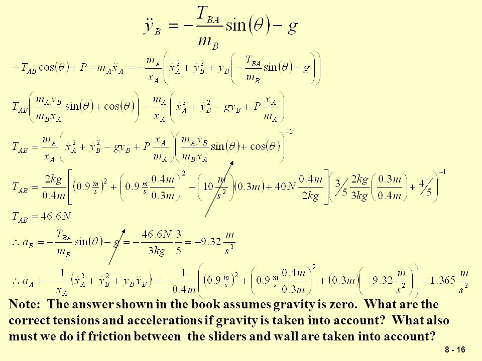 Note: The answer shown in the book assumes gravity is zero