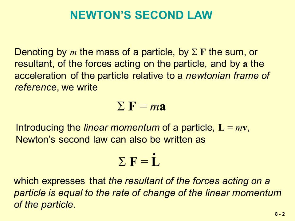 S F = ma . S F = L NEWTON'S SECOND LAW