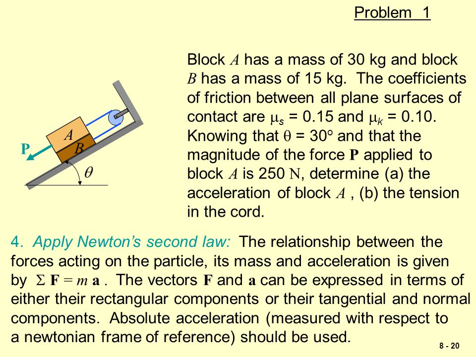 Problem 1 Block A has a mass of 30 kg and block. B has a mass of 15 kg. The coefficients. of friction between all plane surfaces of.
