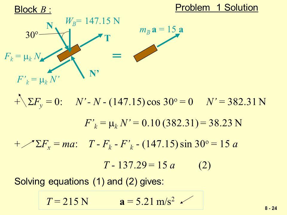 = + SFy = 0: N' - N - (147.15) cos 30o = 0 N' = 382.31 N