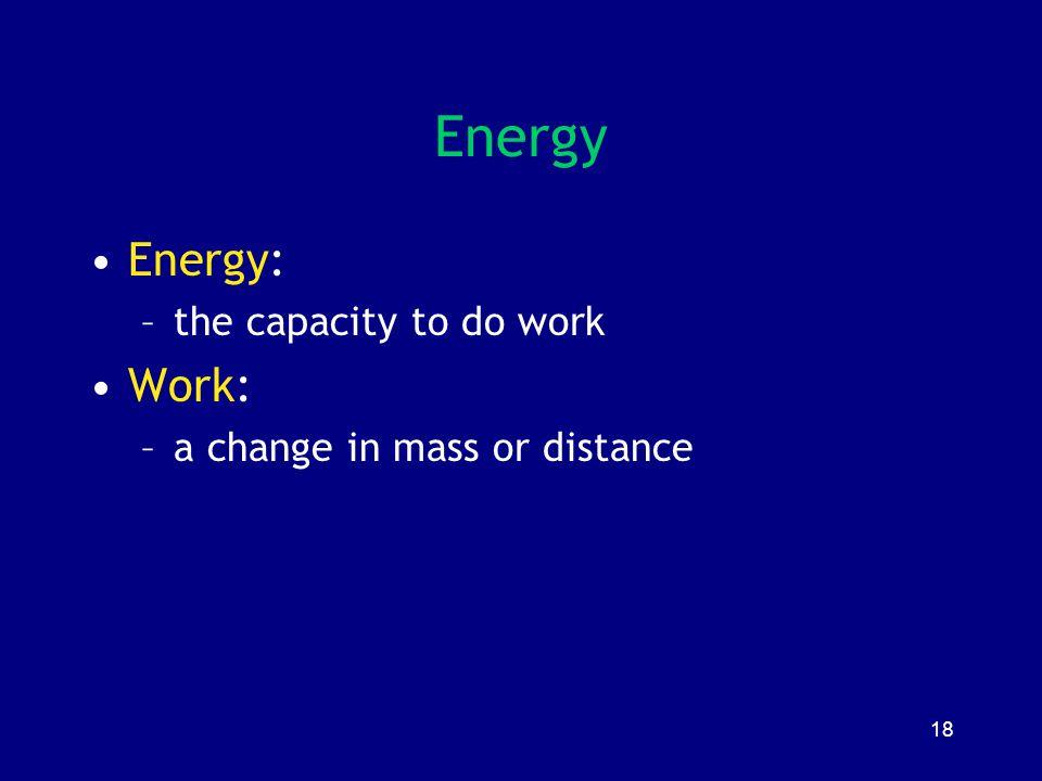 Energy Energy: Work: the capacity to do work