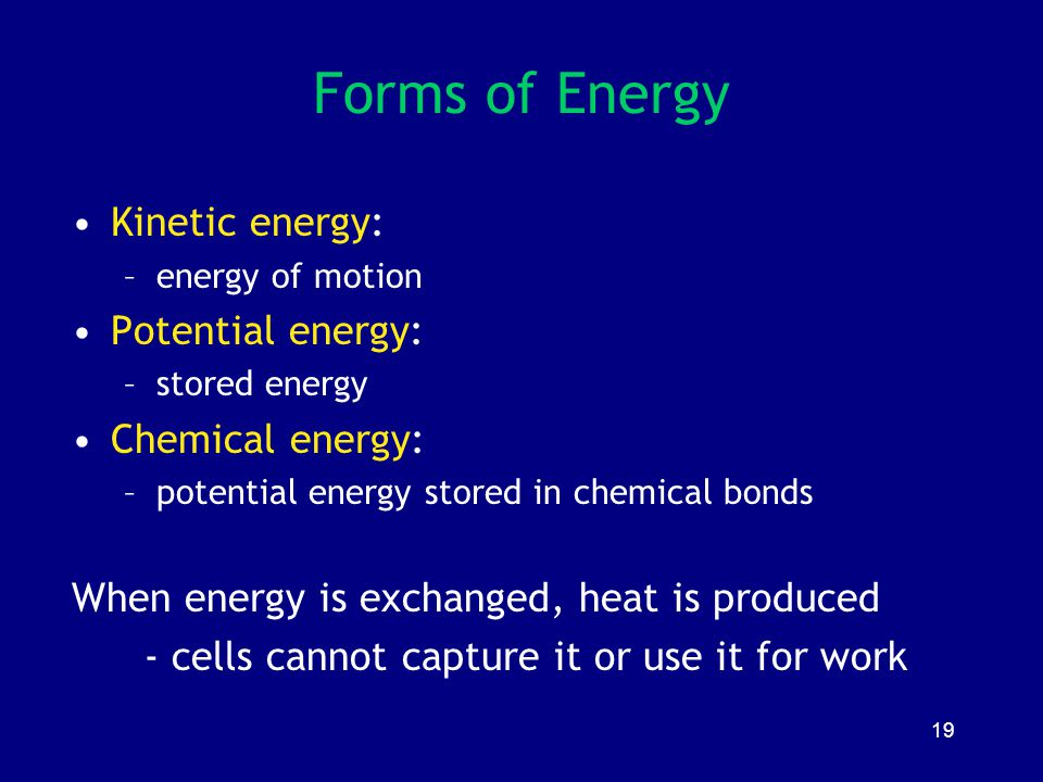 Forms of Energy Kinetic energy: Potential energy: Chemical energy: