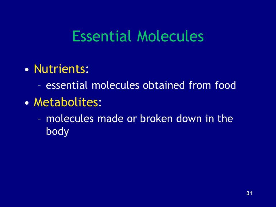 Essential Molecules Nutrients: Metabolites: