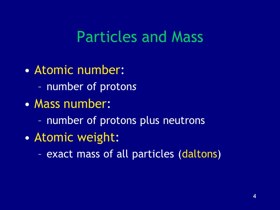 Particles and Mass Atomic number: Mass number: Atomic weight: