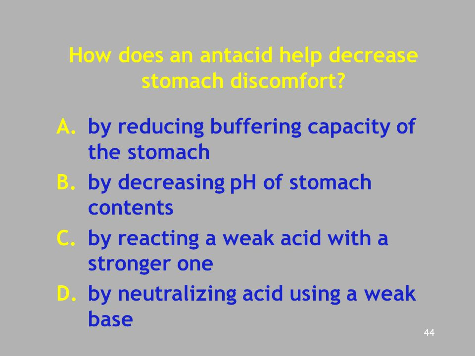 How does an antacid help decrease stomach discomfort