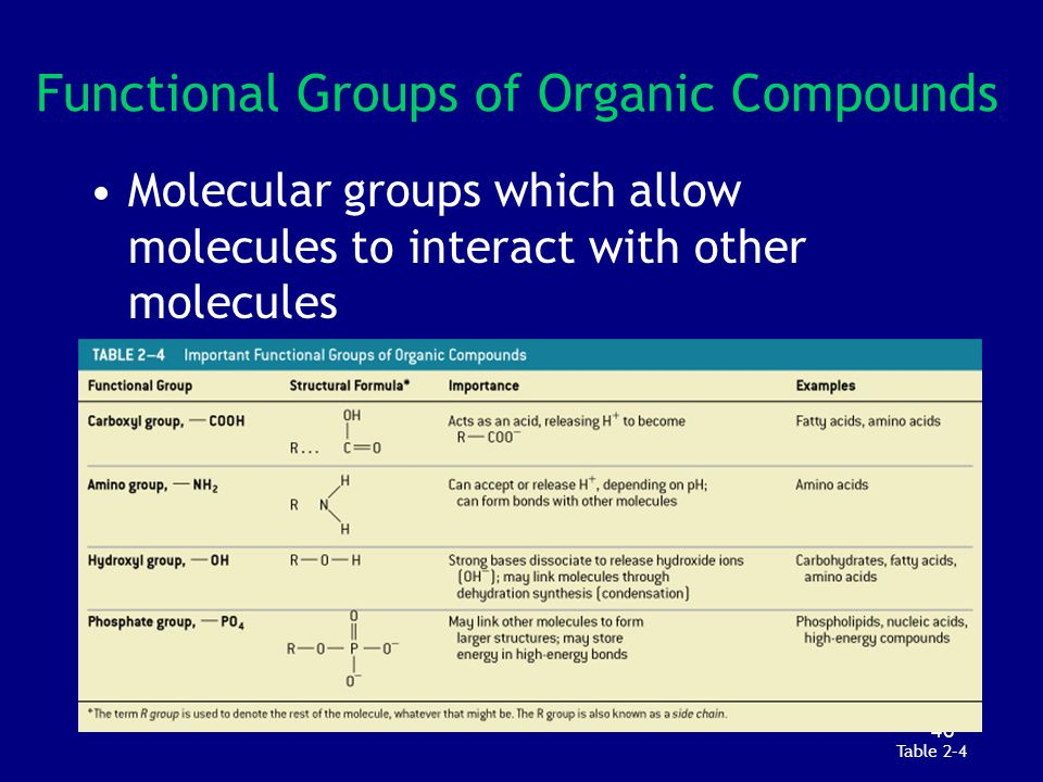 Functional Groups of Organic Compounds