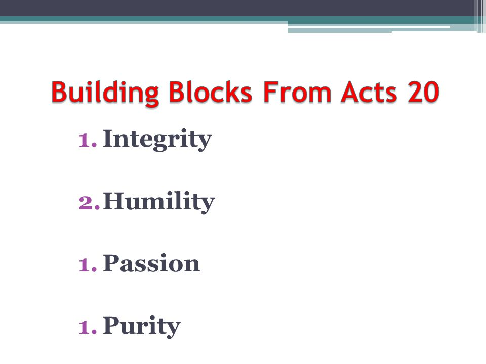 Building Blocks From Acts 20