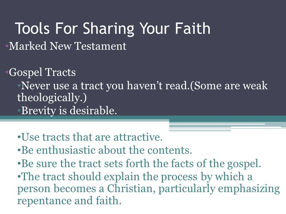 Tools For Sharing Your Faith