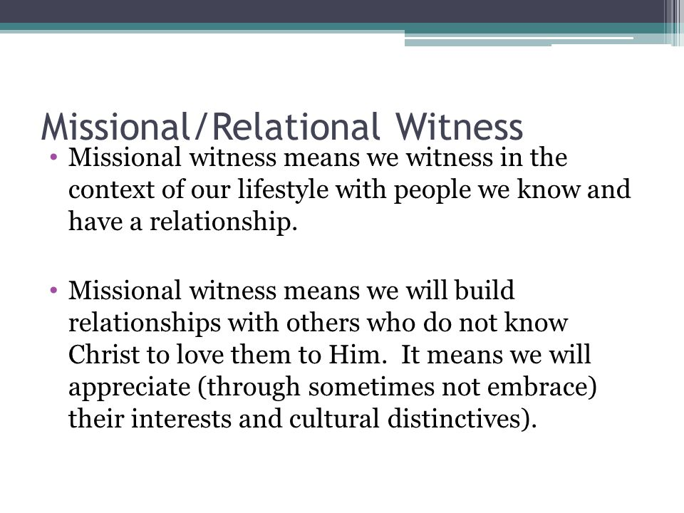 Missional/Relational Witness