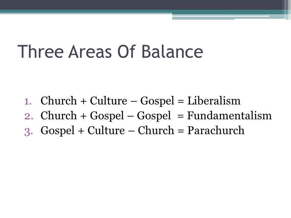 Three Areas Of Balance Church + Culture – Gospel = Liberalism