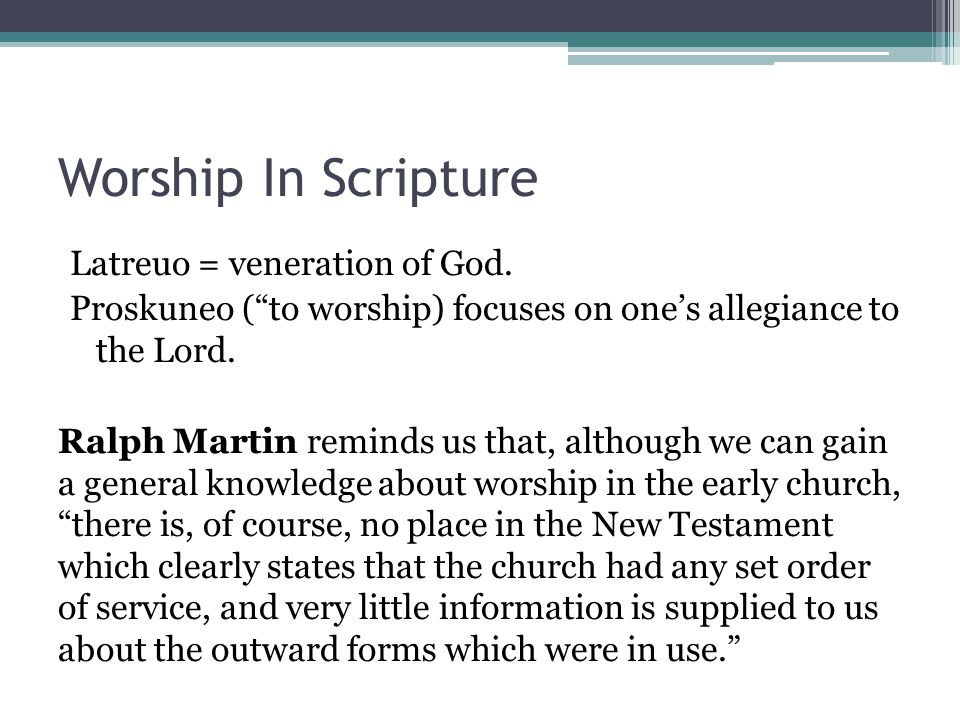 Worship In Scripture