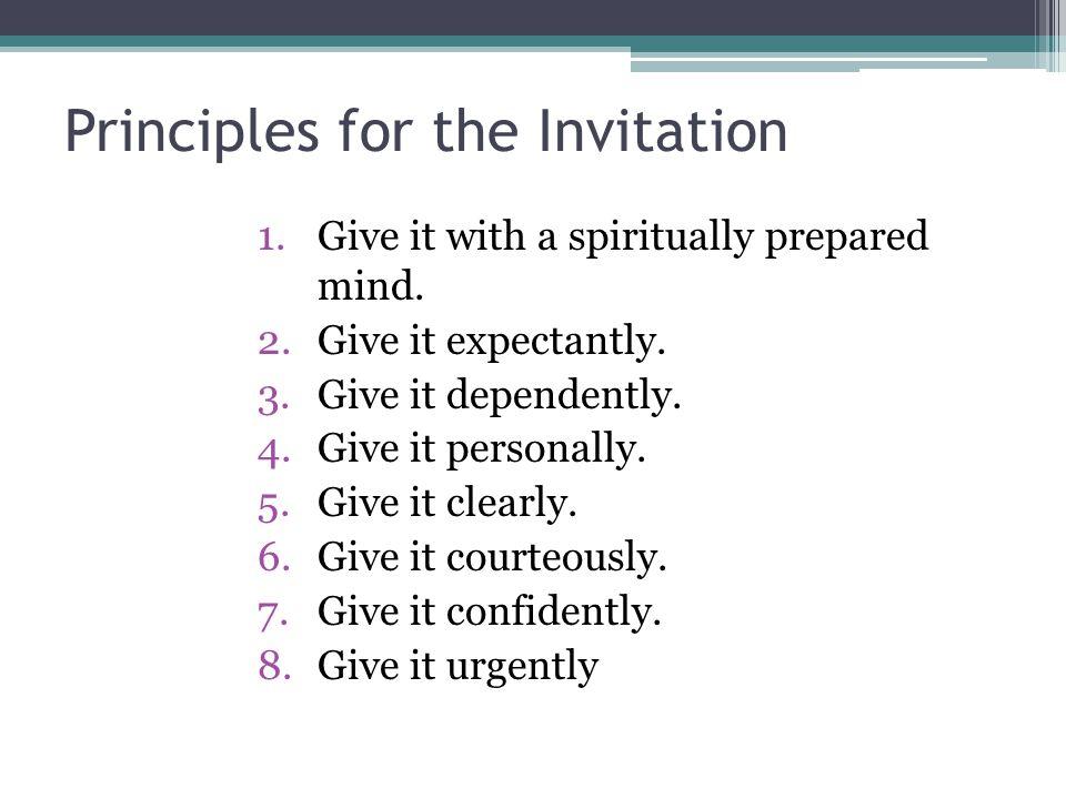 Principles for the Invitation