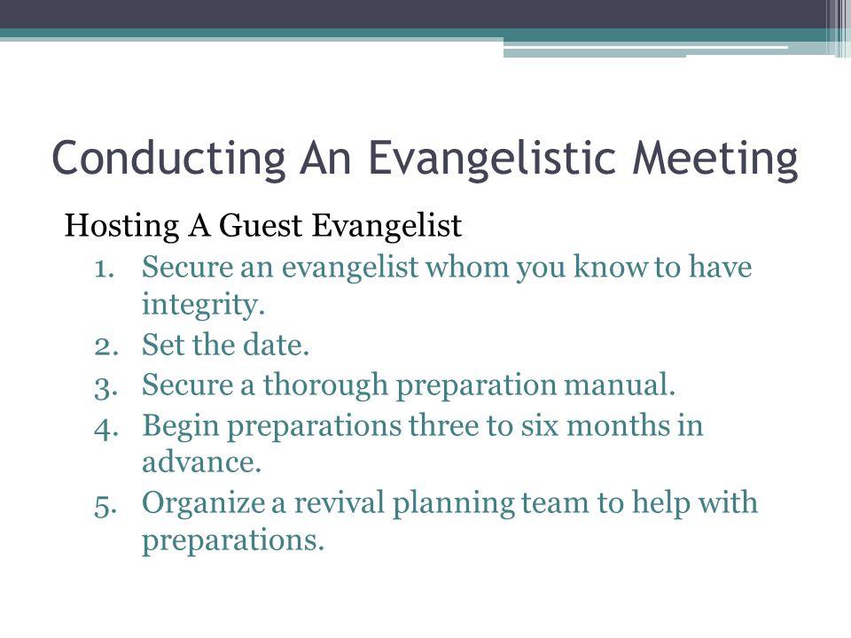 Conducting An Evangelistic Meeting