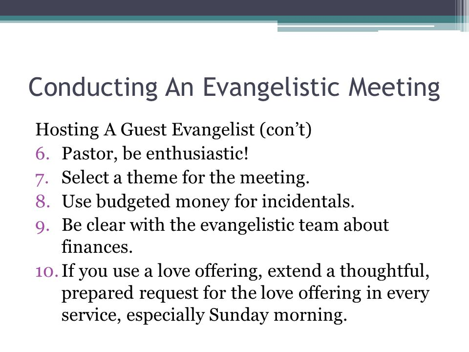 Conducting An Evangelistic Meeting