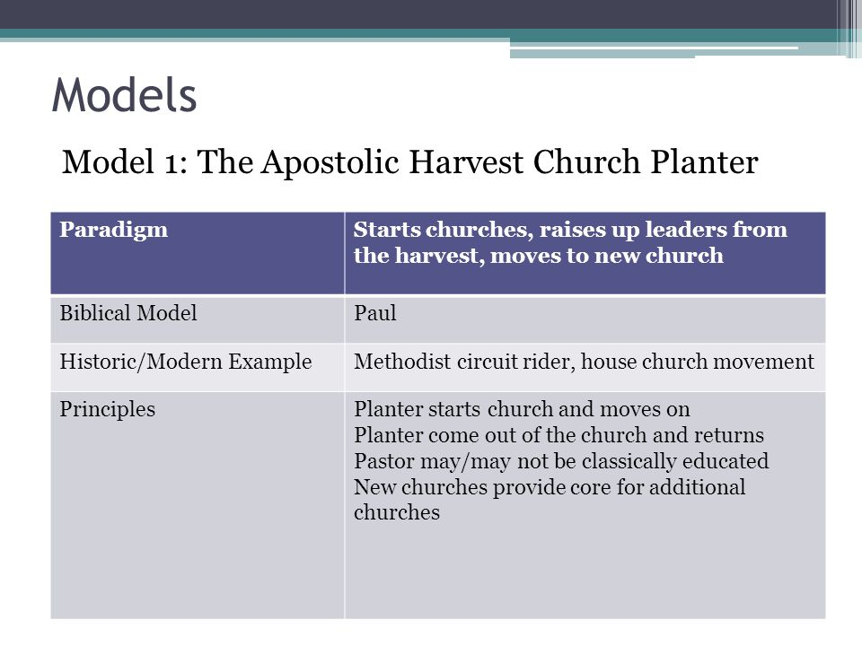 Models Model 1: The Apostolic Harvest Church Planter Paradigm
