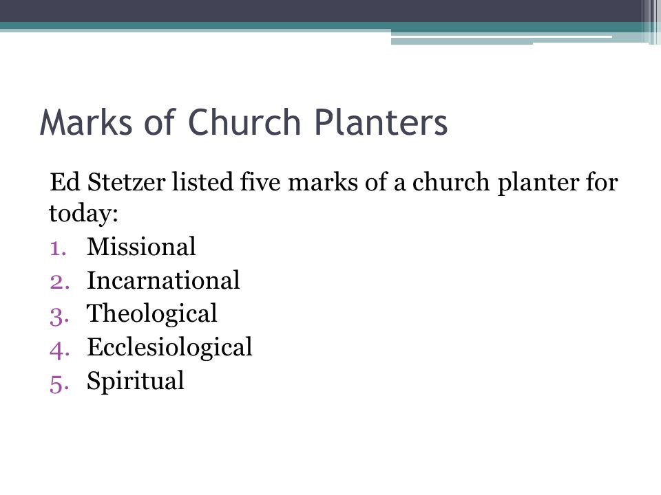 Marks of Church Planters