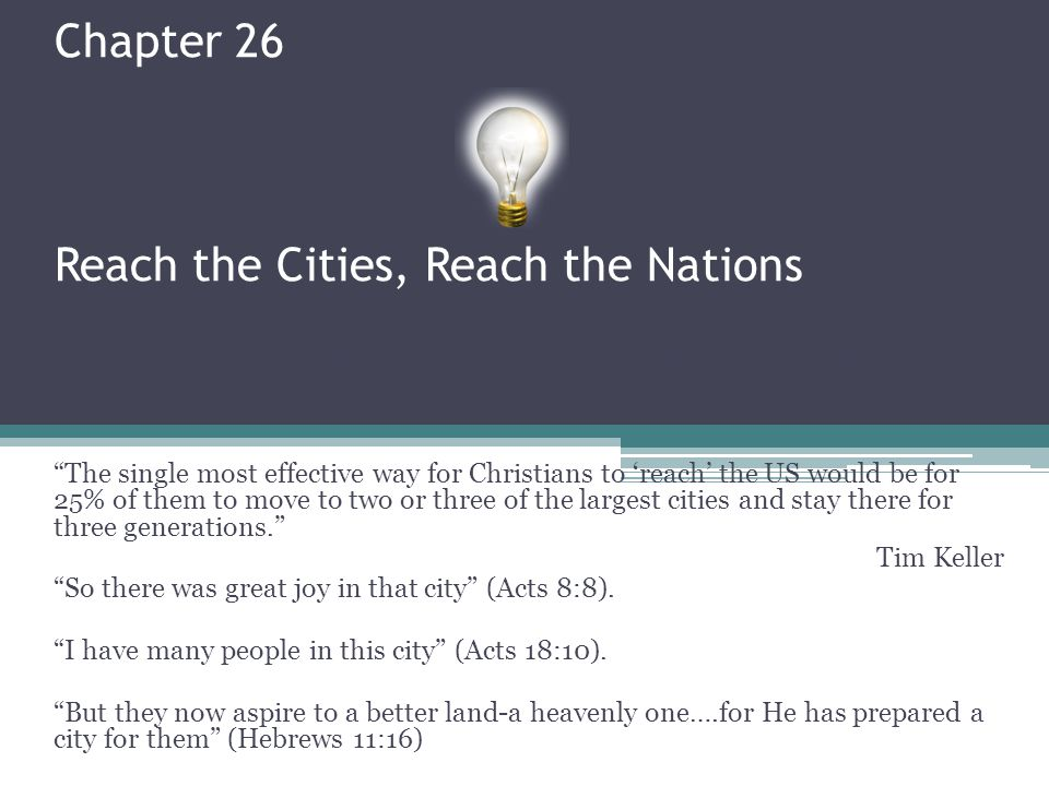 Chapter 26 Reach the Cities, Reach the Nations