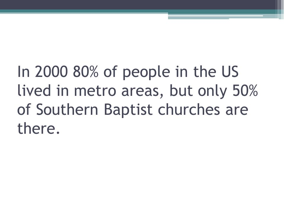 In % of people in the US lived in metro areas, but only 50% of Southern Baptist churches are there.