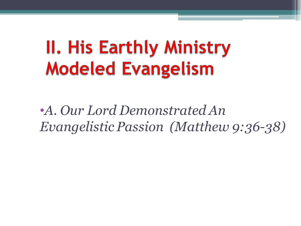 II. His Earthly Ministry Modeled Evangelism
