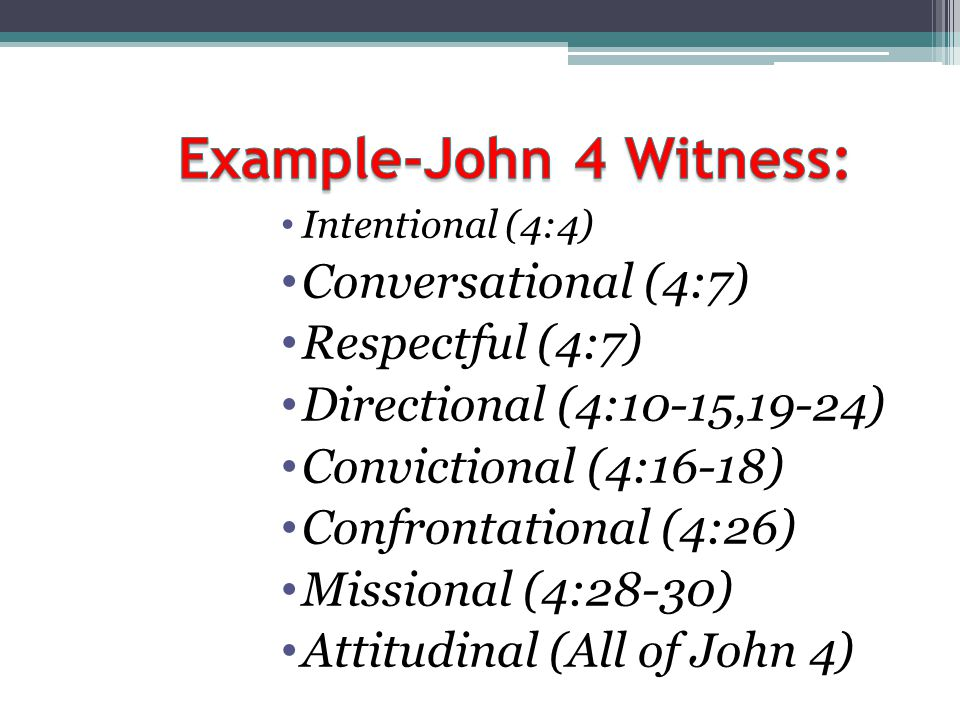 Example-John 4 Witness: