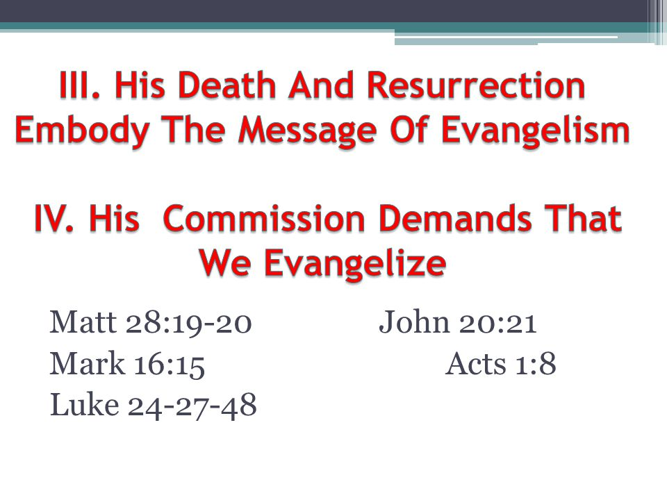 III. His Death And Resurrection Embody The Message Of Evangelism IV