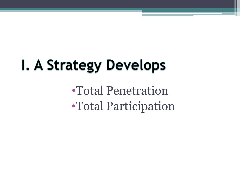 I. A Strategy Develops Total Penetration Total Participation