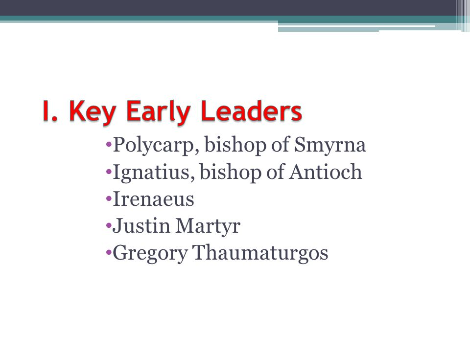 I. Key Early Leaders Polycarp, bishop of Smyrna