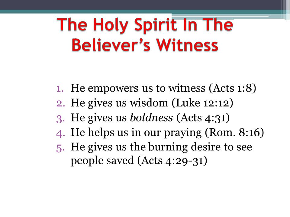 The Holy Spirit In The Believer's Witness