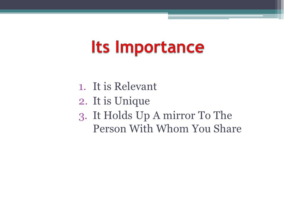 Its Importance It is Relevant It is Unique