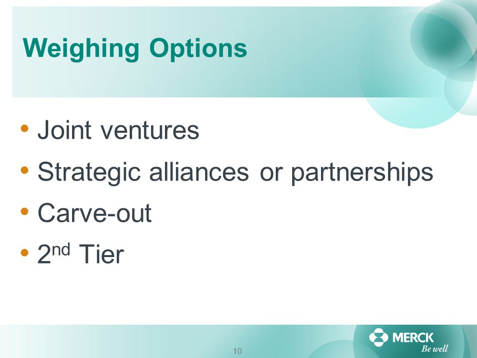 Weighing Options Joint ventures Strategic alliances or partnerships Carve-out 2nd Tier