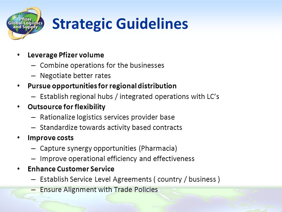 Strategic Guidelines Leverage Pfizer volume