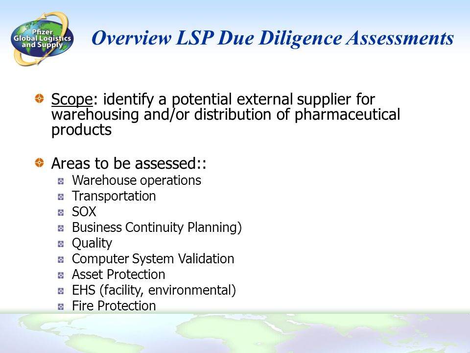 Overview LSP Due Diligence Assessments
