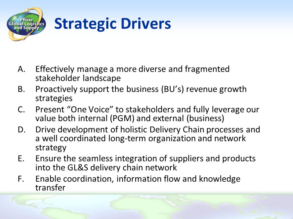 Strategic Drivers Effectively manage a more diverse and fragmented stakeholder landscape.