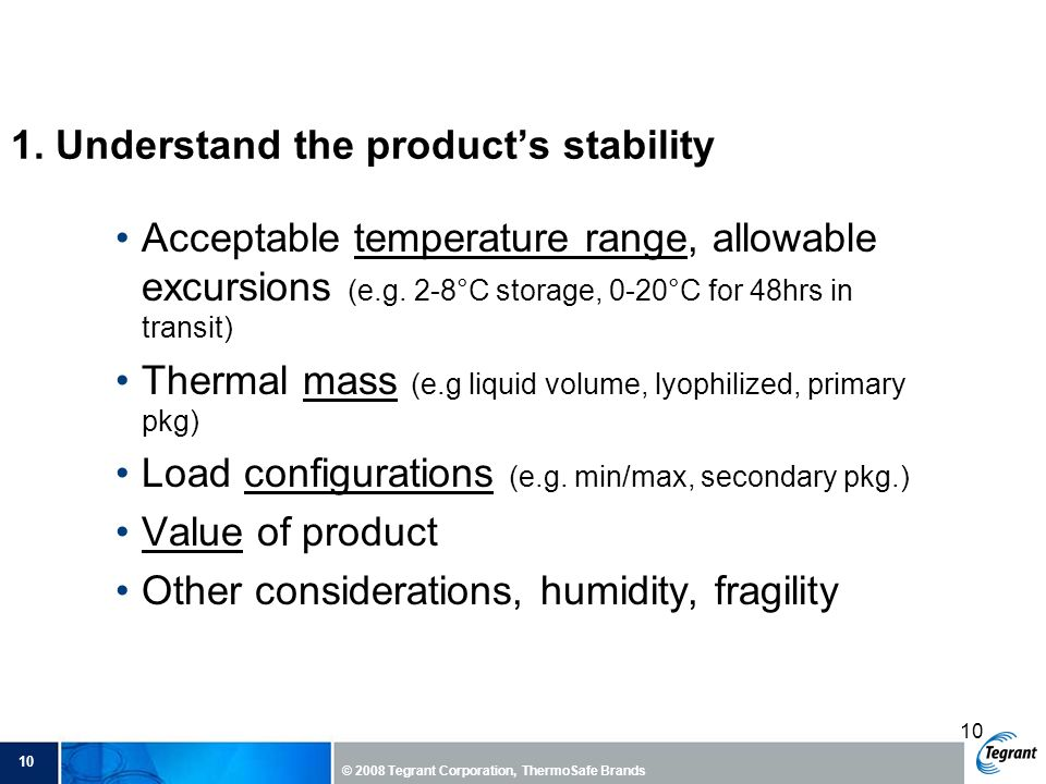 1. Understand the product's stability