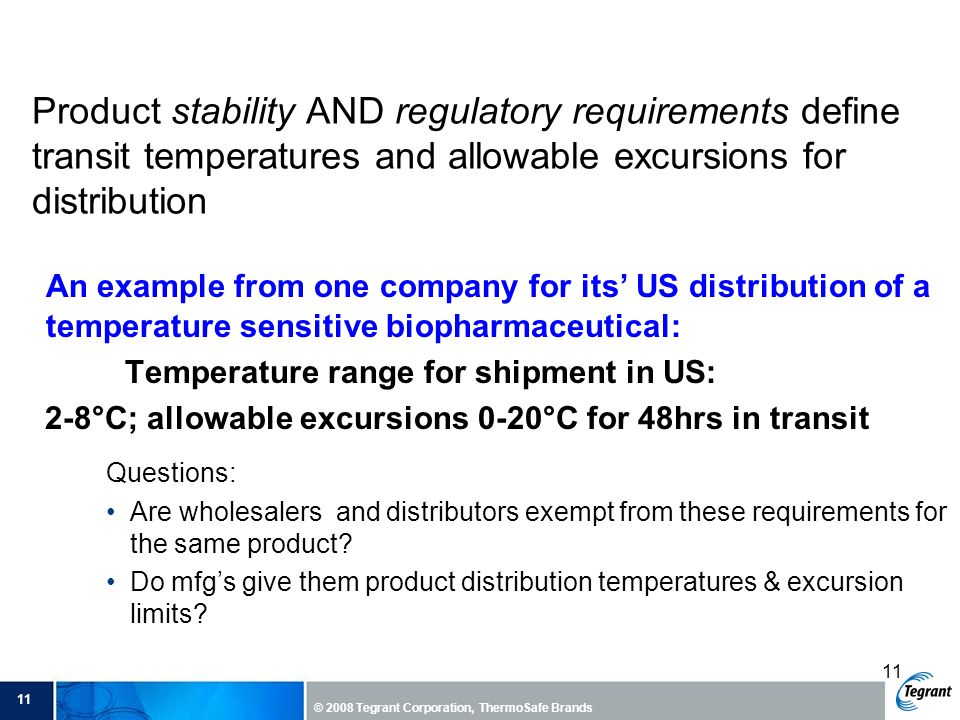 Product stability AND regulatory requirements define transit temperatures and allowable excursions for distribution