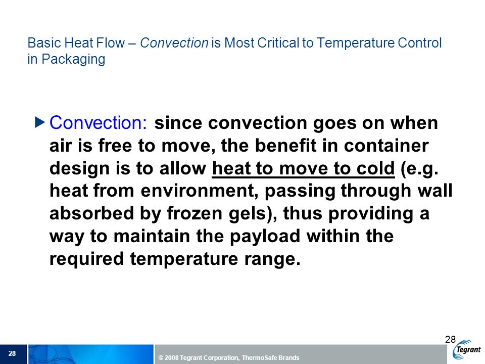 Basic Heat Flow – Convection is Most Critical to Temperature Control in Packaging