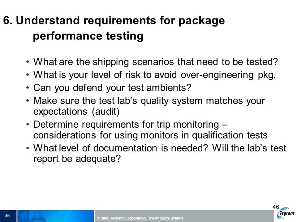 6. Understand requirements for package performance testing