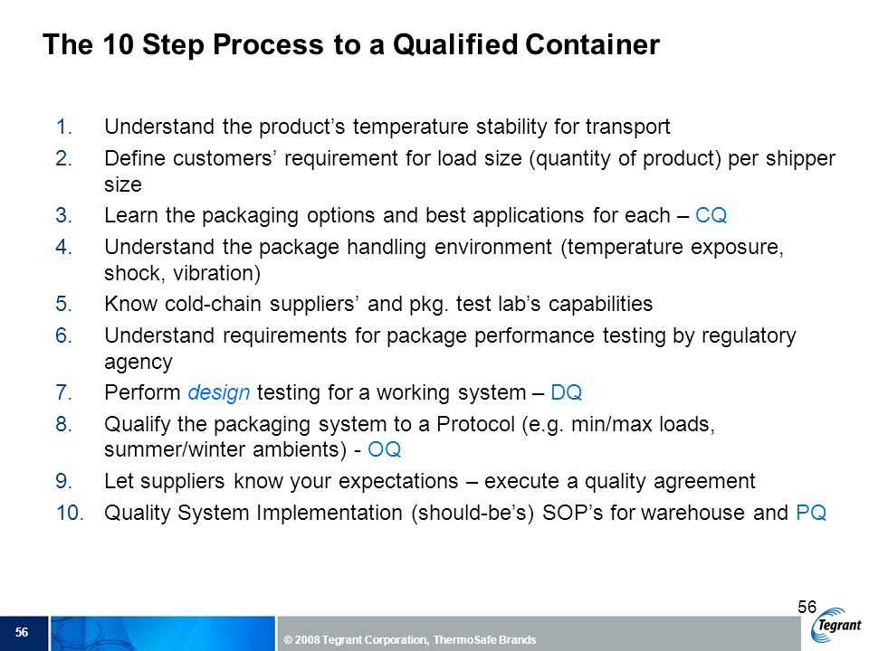 The 10 Step Process to a Qualified Container