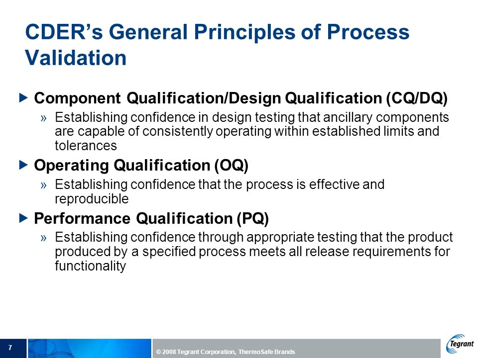 CDER's General Principles of Process Validation